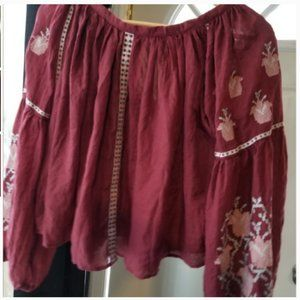 Peasant Boho Bell Sleeve Embroidered Blouse Size L